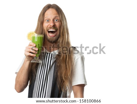 Funny portrait of a very happy, excited hippie man drinking a healthy green vegetable smoothie. Isolated on white. - stock photo