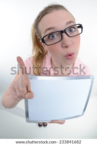 funny portrait of a women with a clipboard - fisheye shoot - stock photo