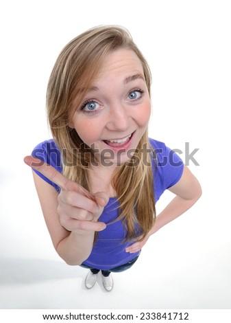 funny portrait of a young women has an idea - fisheye shoot - stock photo