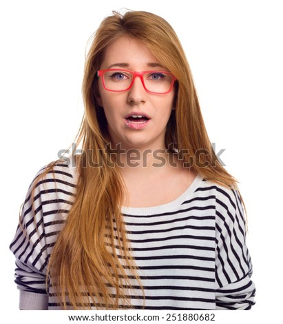 Funny portrait of excited woman wearing glasses eye wear. Young woman making funny face expression isolated on white background - stock photo