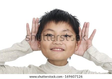 Funny portrait of little child-close up - stock photo
