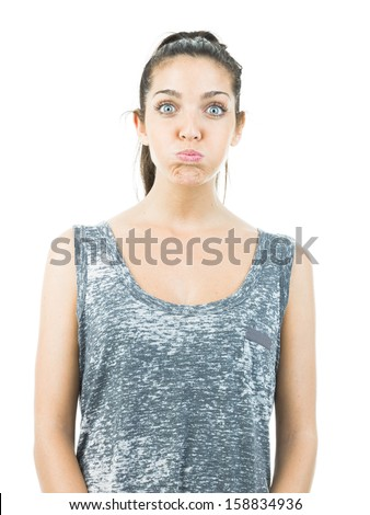 funny pretty woman - stock photo