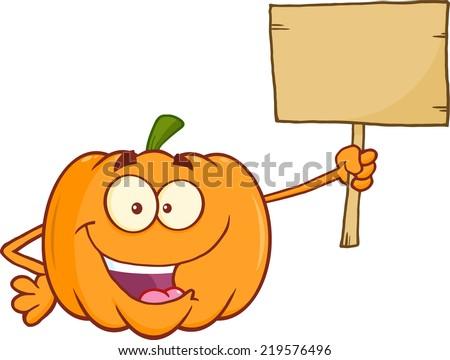 Funny Pumpkin Cartoon Mascot Character Holding A Wooden Board. Raster Illustration - stock photo