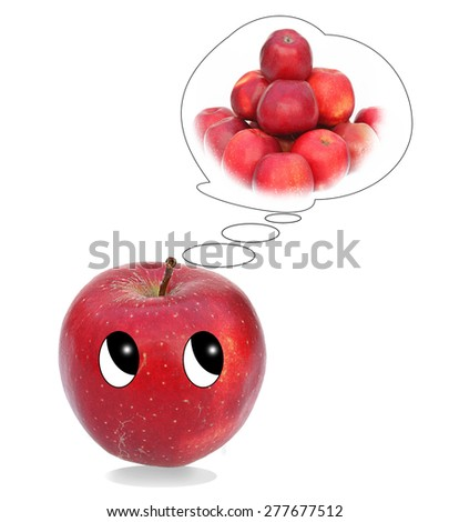 funny red apple with big eyes thinks on red apples