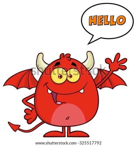 Funny Red Devil Cartoon Character Waving And Saying Hello. Raster Illustration Isolated On White - stock photo