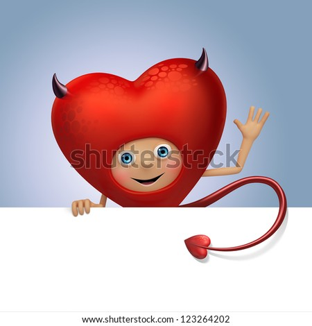funny red devil heart cartoon flirting. Valentine's day greeting. Three dimensional character render