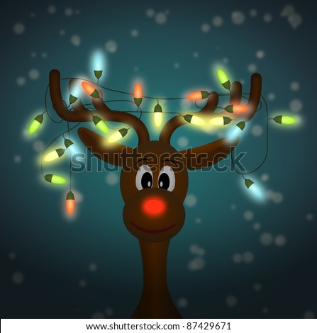 funny reindeer with colorful christmas lights tangled in antlers in dark - illustration - stock photo