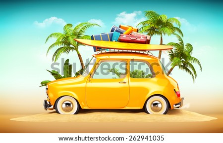 Funny Retro Car Surfboard Suitcases On Stock Illustration 262941035 Shutterstock