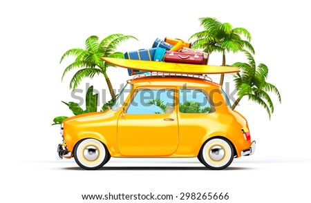 Funny retro car with surfboard and suitcases.  Unusual summer travel illustration  - stock photo
