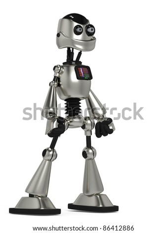 funny robot in power pose side view