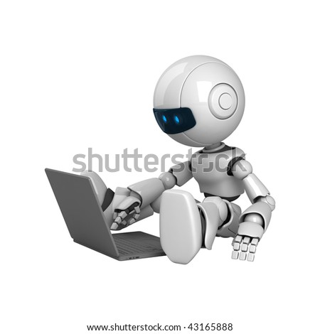 Funny robot sit with laptop