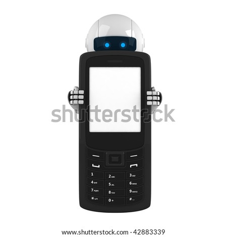 Funny robot stay with mobile phone