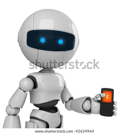 Funny robot with mobile phone - stock photo