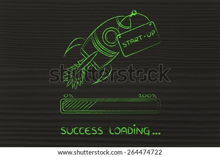funny rocket, concept of leading a start-up business to success (progress bar version) - stock photo