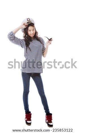 funny sailor asian woman on white background