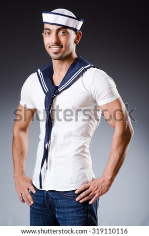 Funny sailor with cap and shirt - stock photo