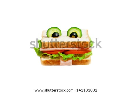 Funny sandwich for child on white background. - stock photo