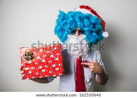 funny santa claus babbo natale on white background - stock photo