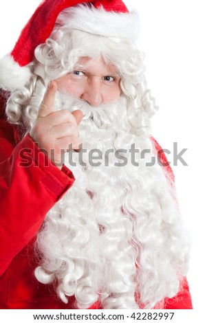funny Santa Claus holding hand with one finger up