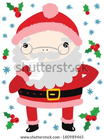 Funny santa reading letter form child stock illustration 180989465 funny santa reading a letter form a child spiritdancerdesigns Gallery