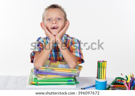 Funny school boy smiling without milk tooth  - stock photo