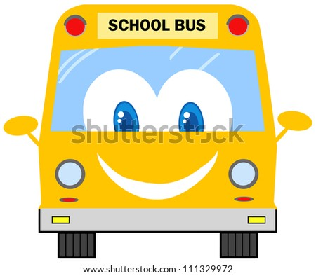 Funny School Bus Cartoon Character. Raster Illustration.Vector version also available in portfolio. - stock photo