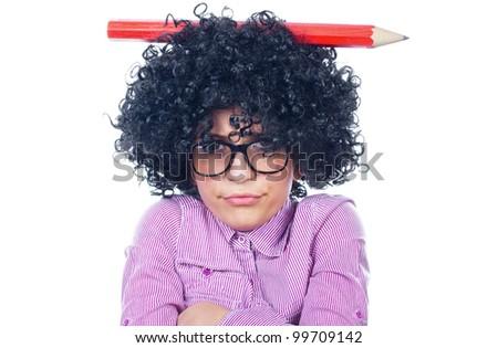 Funny schoolgirl with a big pen - stock photo