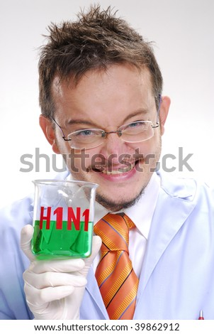 Funny scientist holding an experimental swine flu glass. A doctor holding an experimental glass. - stock photo