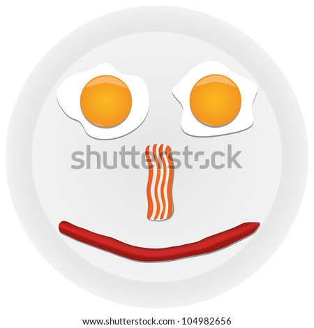 Funny scrambled eggs on the plate - stock photo