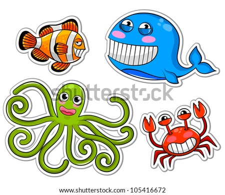 funny sea creatures (vector version available in my gallery) - stock photo