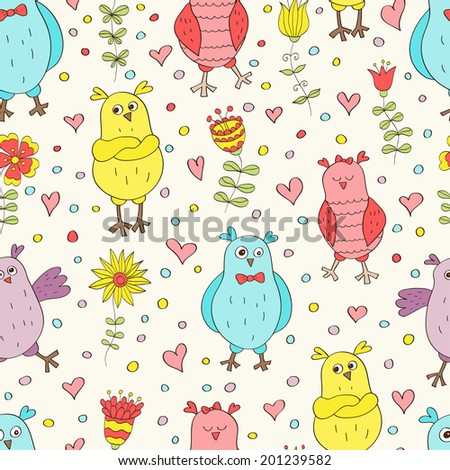 Funny seamless pattern. Cartoon color owls on light background. Ideal for textile, wallpaper, wrapping. - stock photo