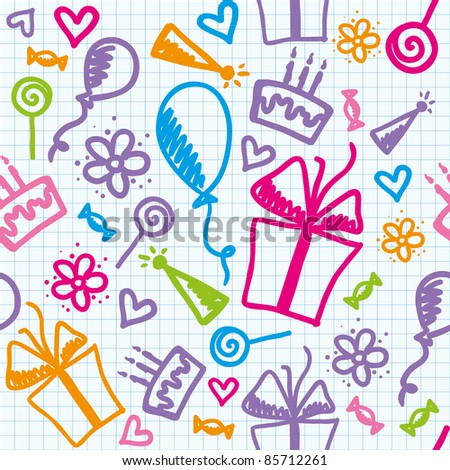 funny seamless pattern of birthday with hand drawn elements