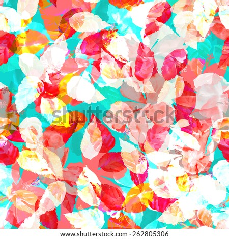 funny seamless pattern of floral background. colorful foliage on a blue background. blossom flowers hibiscus ornament with red and yellow leaves, plants. spring patten vivid watercolor foliage - stock photo