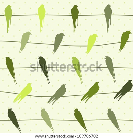 Funny seamless pattern with colorful birds on wires - stock photo