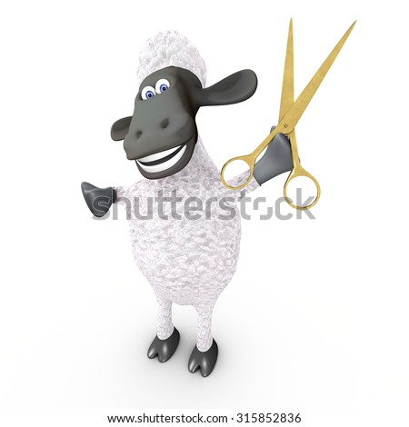 funny sheep hairdresser showing scissors - stock photo