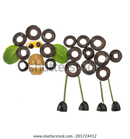 Funny Sheep made of olives - stock photo