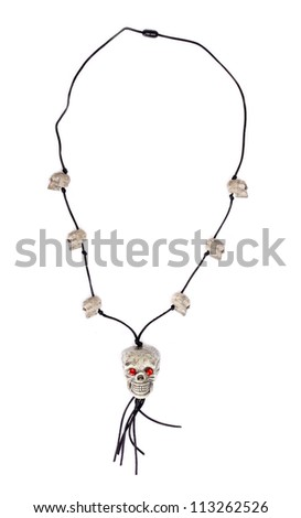funny skull necklace  isolated on white - stock photo