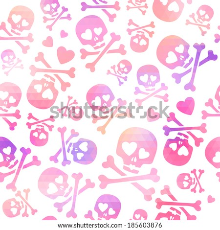 Funny skulls in love - pink and purple pattern. Good for Valentine's Day design. Raster version. - stock photo