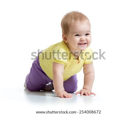 funny smiling baby crawling isolated on white - stock photo