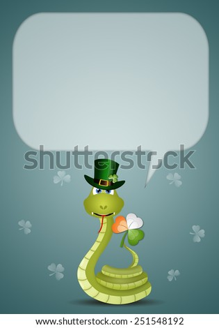 Funny snake for St. Patrick's Day - stock photo
