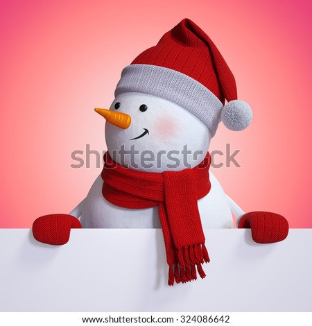 funny snowman above blank Christmas banner, red festive background, 3d illustration