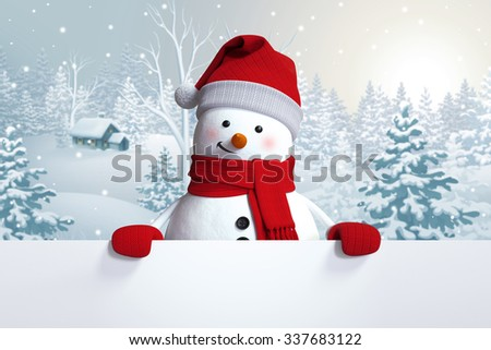 funny snowman blank banner, winter landscape, nature background, snowy forest - stock photo
