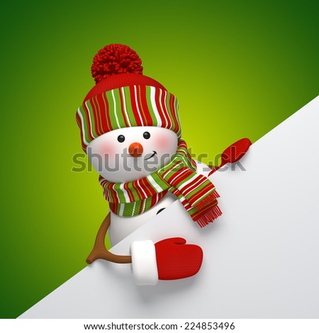 funny snowman greeting card, holiday background, 3d cartoon character illustration