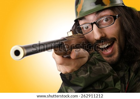 Funny soldier in humour concept - stock photo