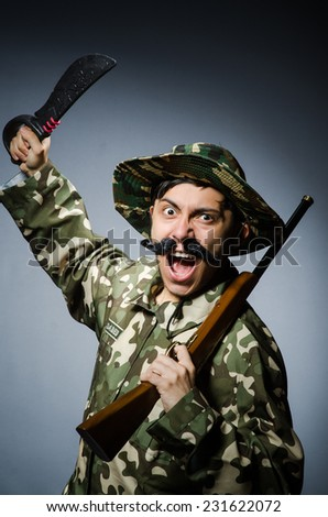 Funny soldier in military concept - stock photo