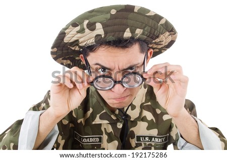 Funny soldier isolated on the white - stock photo
