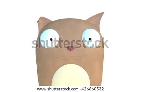 funny squirel 3d illustration cartoon character - stock photo
