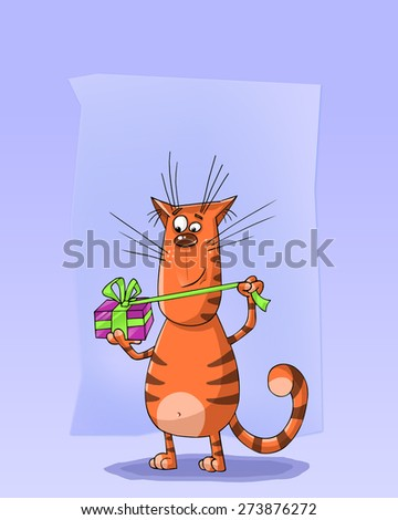 Funny striped cat opening a present box. A cute greeting card. - stock photo