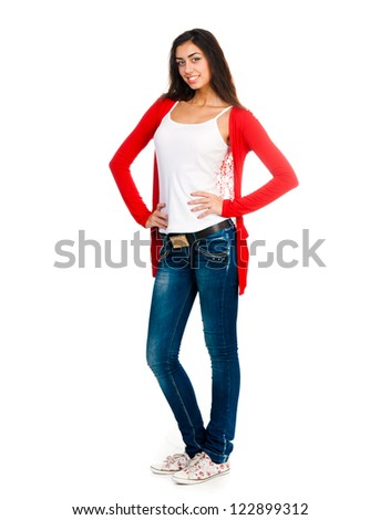funny student looking at the camera on a white background - stock photo