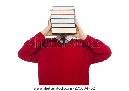 Funny student with books isolated on white - stock photo